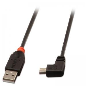 USB 2.0 kaabel A - Mini B nurgaga paremale 1.0m, must
