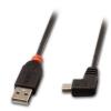 USB 2.0 kaabel A - Mini B 90 kraadise nurgaga paremale 2.0m, must