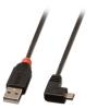 USB 2.0 kaabel A - Micro B 90 kraadise nurgaga paremale 0.5m, must