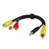 Üleminek 3RCA (F) - RCA (M) + 3.5mm (M), must