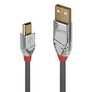USB 2.0 kaabel A - Mini B 0.5m, CROMO