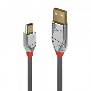 USB 2.0 kaabel A - Mini B 3.0m, CROMO