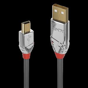 USB 2.0 kaabel A - Mini B 5.0m, CROMO