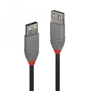 USB 2.0 pikenduskaabel A - A 2.0m, must, ANTHRA