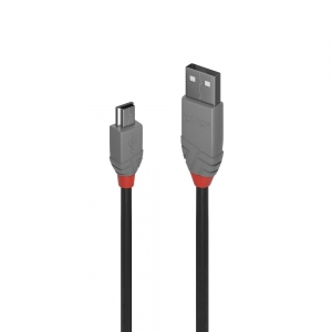 USB 2.0 kaabel A - Mini B 2.0m, must, ANTHRA