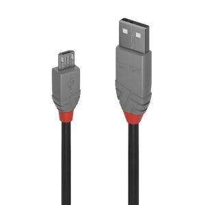 USB 2.0 kaabel A - Micro B 3.0m, ANTHRA