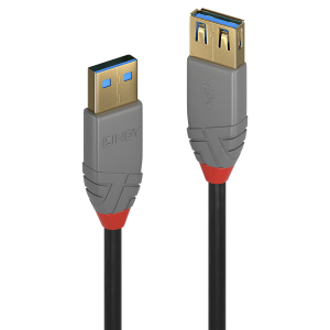 USB 3.0 pikenduskaabel A - A 3.0m, ANTHRA, must