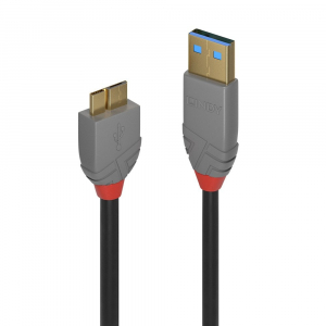 USB 3.0 kaabel A - Micro B 2.0m, must, ANTHRA