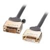 DVI-D Dual Link pikenduskaabel 5.0m, hall, Gold, 1080p