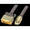 HDMI - DVI-D Single Link kaabel 2.0m, Premium Gold