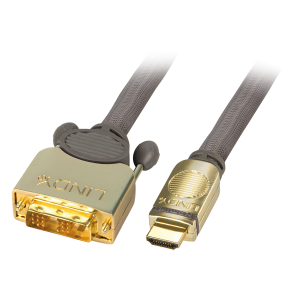 HDMI - DVI-D Single Link kaabel 5.0m, Premium Gold