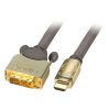 HDMI - DVI-D Single Link kaabel 10.0m, Premium Gold