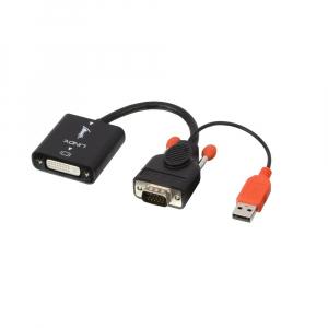 Konverter VGA (M) - DVI-D (F) + USB toide 0.1m, must
