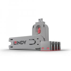 LINDY 40450 USB pordi lukk, roosa, 4tk + võti