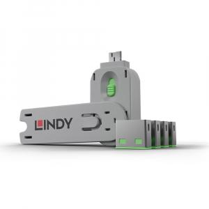 LINDY 40451 USB pordi lukk, roheline, 4tk + võti