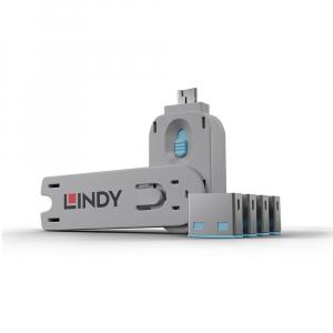 LINDY 40452 USB pordi lukk, sinine, 4tk + võti