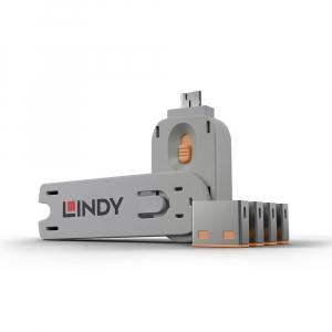 LINDY 40453 USB pordi lukk, oranž, 4tk + võti