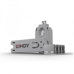 LINDY 40454 USB pordi lukk, valge, 4tk + võti
