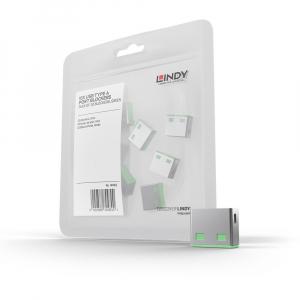 LINDY 40461 USB pordi lukk, roheline, 10tk ilma võtmeta