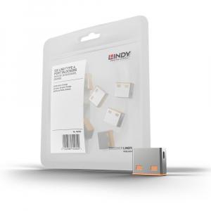 LINDY 40463 USB pordi lukk, oranž, 10tk ilma võtmeta