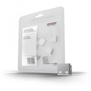 LINDY 40464 USB pordi lukk, valge, 10tk ilma võtmeta