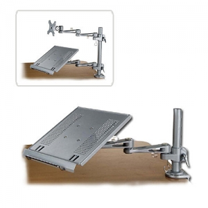 Sülearvuti hoidik, väljaulatuv (kuni 600mm pikk), hõbe (lauakinnitus eraldi)