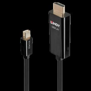 LINDY 40910 Mini DisplayPort - HDMI kaabel 0.5m, 4096x2160@60Hz, must (sign suund DP > HDMI)
