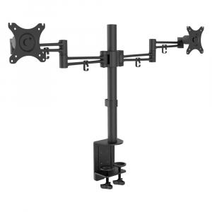 Hoidik 2-le monitorile väljaulatuv, must, kuni 10kg iga hoidku kohta, kuni 30tolli ekraanidele