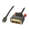 Micro HDMI - DVI-D Single Link kaabel 3.0m