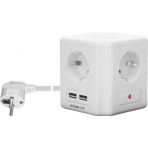 Maandusega pikendusjuhe 4 osa/ 1.5m, valge,  (max 3680W) + 2 USB porti, kuubik