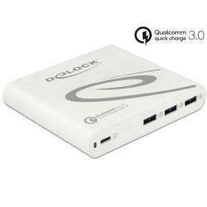 Laadimisjaam 1x USB-C PD 85W, 3x USB-A Qualcomm kiirlaadija, komplektis lisaks 11 erinevat otsikut laptopidele, valge