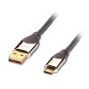 USB 2.0 kaabel A - Micro B 2.0m, CROMO, tumehall