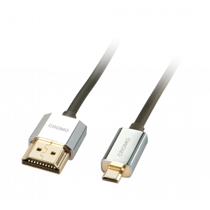 HDMI - Micro HDMI kaabel 1.0m, CROMO Slim Active High Speed + Ethernet, 2160p, 3D