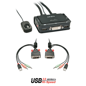KVM switch: 2 porti, DVI-D, USB 2.0, Audio