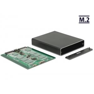 Kõvakettakarp 2x M.2 Key B ketastele, USB 3.1 Micro-B sisend, Raidiga