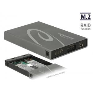 Kõvakettakarp 2x M.2 Key B SSD ketastele, USB-C sisend, Raidiga
