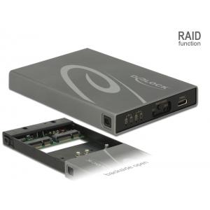Kõvakettakarp 2x mSATA SSD ketastele, USB-C sisend, Raidiga