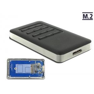Kõvakettakarp M.2 Key B SSD 42mm kettale, USB 3.0 Micro-B pistik, krüpteerimis funktsiooniga