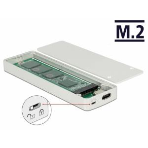 Kõvakettakarp M.2 SSD 42/60/80mm kettale, USB-C sisend, ülekirjutus kaitsmega