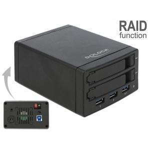 Kõvakettakarp 2 x 2.5″ SATA HDD/SSD, USB 3.1-C sisend, Raidiga, 3x USB 3.0 Hub