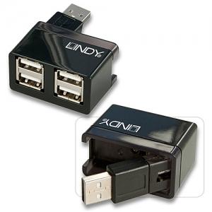 USB 2.0 hub: 4 porti, kompaktne, pööratav konnektor