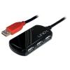 USB 2.0 hub: 4 porti, pikenduskaabel 12.0m + 5V 2A toiteplokk