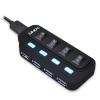 USB 3.1 hub: 4 porti, on/off lülitiga + USB 3.1 A - Micro B 0.5m kaabel