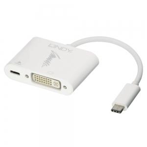 Konverter USB-C (M) - DVI-D (F) + USB-C (F) 1080p 0.15m (laadimine kuni 60W)