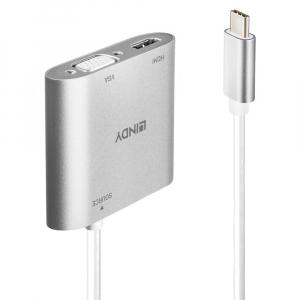 Konverter USB-C (M) - HDMI 2160p@30Hz/ VGA (F) 2160p@30Hz 0.15m, hõbe, SST/MST