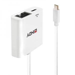 Võrgukaart USB-C (M) - 1Gbps Ethernet (F) + toide 0.11m, valge