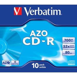 CD-R toorik 700MB, Verbatim Crystal AZO Colours, õhuke karp, 1-52X, 10tk