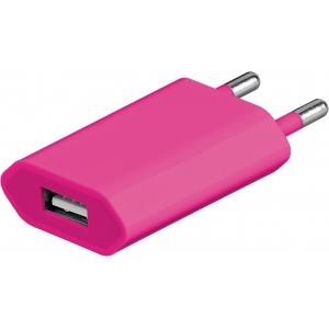 Micro USB laadija, 100 - 240V > 5V 1A, roosa