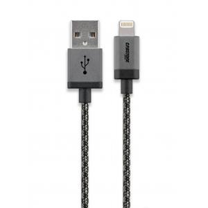 USB 2.0 - Lightning kaabel 1.0m, apple sertifitseeritud, tekstiilist must/hõbe