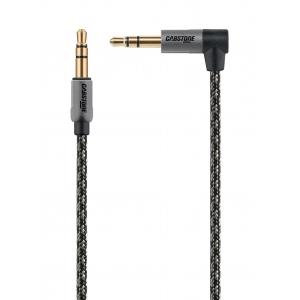 3.5mm stereo pistik - pistik 90-kraadiga 1.5m, kullatud, tekstiilist must/hõbe
